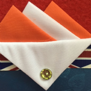 Orange and White Hankie With White Flap and Pin